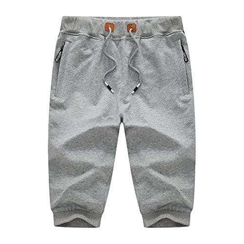 CHEXPEL Men's Cotton Casual Shorts Breathable 3/4 Jogger Capri Pants Below Knee Short with Three Pockets