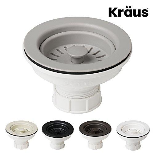 Kraus Kitchen Sink Strainer for 3.5-Inch Drain Openings in Grey