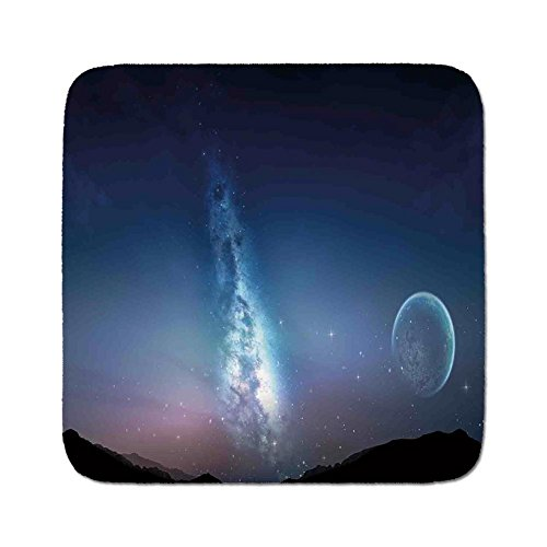 Cozy Seat Protector Pads Cushion Area Rug,Space,Nebula Gas Cloud with Moon and Stars Cluster Vivid Bright Astronomical Events Facts Image,Blue,Easy to Use on Any Surface