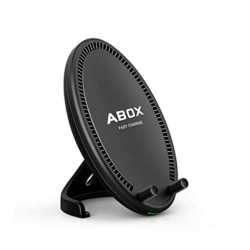 Fast Wireless Charger, ABOX Qi Wireless Charging Pad Stand with Cooling Fan for Samsung Galaxy S8/S8 Plus/S7/S7 Edge/S6 Edge Plus/Note 5, Standard Charge for iPhone X/8/8 Plus