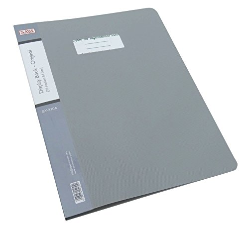 10 Pockets Display Book Presentation File Folder A4 Size Paper Clear Sheet Protector Document File Folder, Gray - Pack of ()