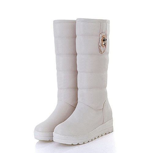 PU Heels and M Soft Boots Solid 5 5 Metalornament Womens Beige AmoonyFashion PU Platform Material US Kitten with B PAqxYWwEg