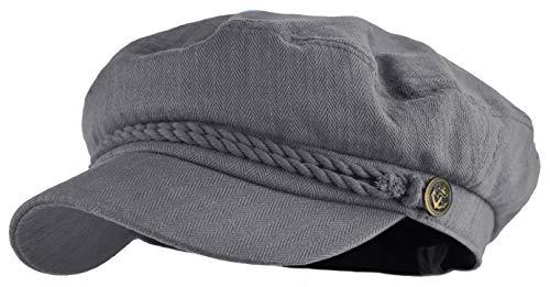 Classic Newsboy Cap Greek Fisherman Sailor Cap Fiddler Cotton Hat (Gray) -