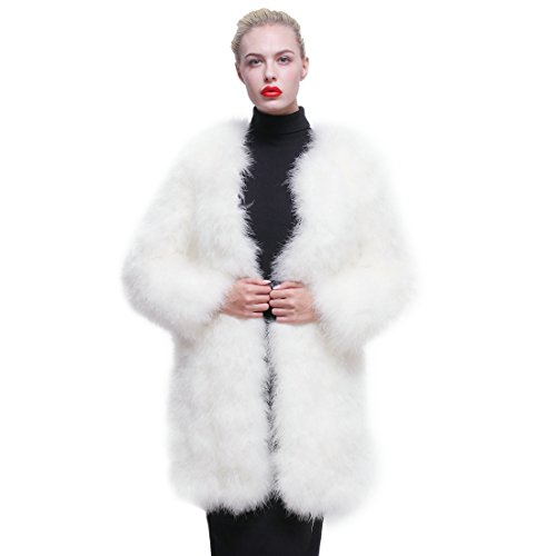 URSFUR Women Winter Jacket Real Ostrich Feather Fur Coat White ()