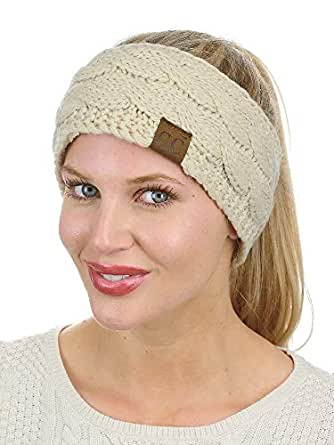 C.C Soft Stretch Winter Warm Cable Knit Fuzzy Lined Ear Warmer Headband, Beige