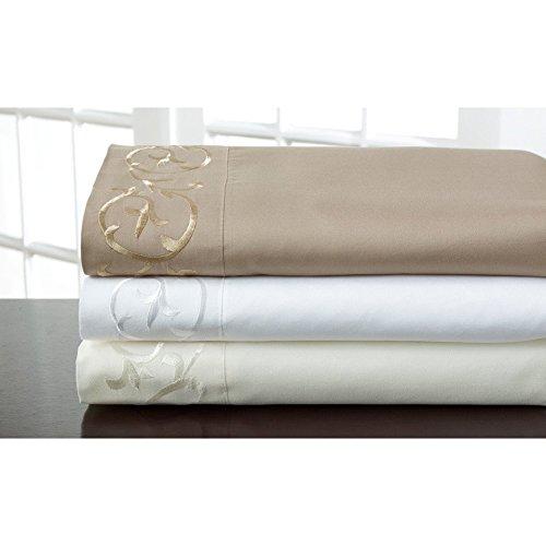 Elite Home Products, Inc. Hotel Scroll Microfiber Sheet Set White 4 Piece California King
