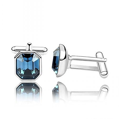Cuff Links With Swarovski Elements in Gold-Plated Alloy (Blue)