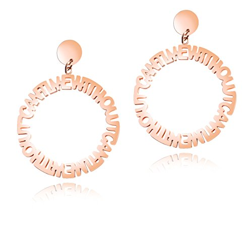 Huanian Jewelry Stainless Steel Gold Rose Letters Circular Shape Dangle Drop Earring for - Shape Dangle Circular