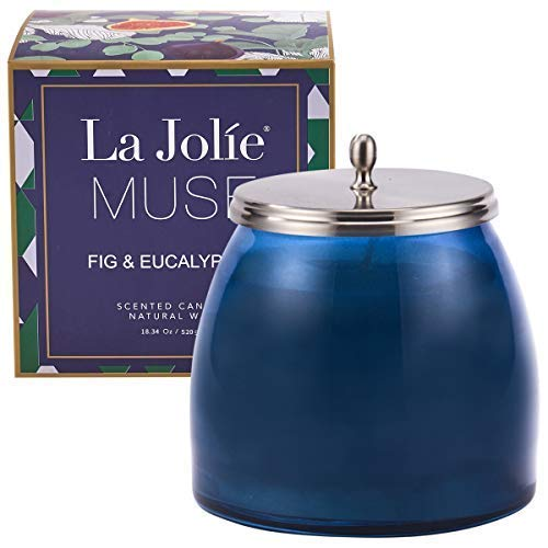 - LA JOLIE MUSE Eucalyptus Aromatherapy Scented Candle Large - Stress Relief Fig Glass Jar 18OZ,Natural Soy Wax Candle Gift