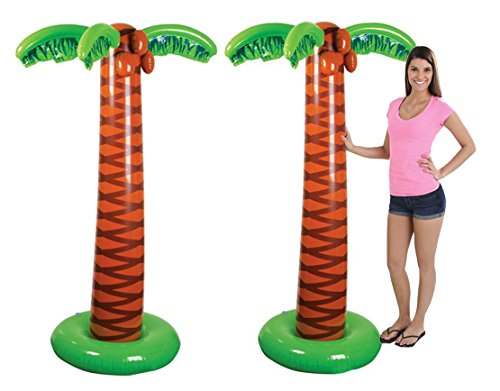 4E's Novelty Pack of 2 Inflatable Palm Trees, Great for Pool and Beach Party -