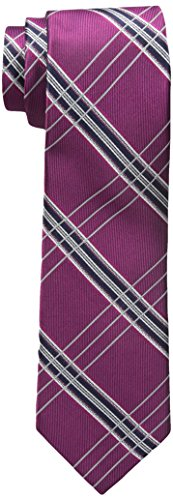 Berry Tie - Rooster Men's Big-Tall Plaid Extra Long Necktie, Berry, XL