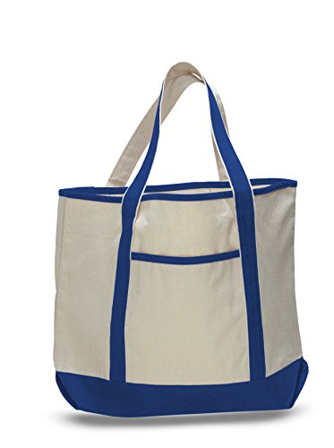 (3 Pack) Set of 3- Deluxe Heavy Cotton Canvas Large Tote Bag (Royal) (Best Affordable Tote Bags)