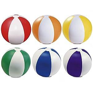 Packung mit 6 aufblasbaren Farbe Wasserball 22 cm/9 - Strand-Pool-Spiel