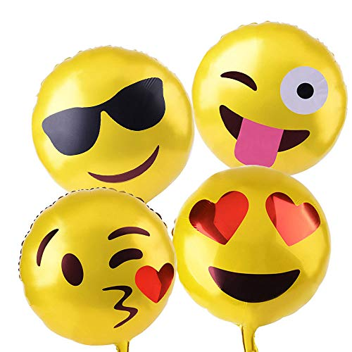 KUUQA Reusable Emoji Mylar Party Balloons Emoji Balloons Emoji Party Supplies, 16 Piece]()