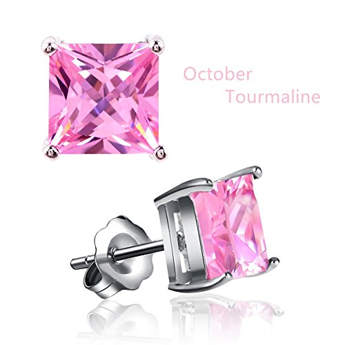 Miraculous Garden White Gold Plated Square Cubic Zirconia Diamond Birthstone Stud Earrings (October-Tourmaline)