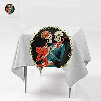 AndyTours Stain Square Tablecloth,Day of The Dead,Skeleton Couple in Love Oval Frame with Green Leaves Mexican Tradition,High-end Durable Creative Home, Multicolor