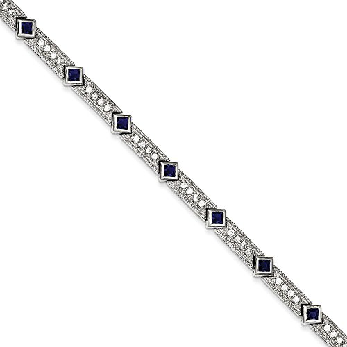 En argent Sterling 925 avec zircones cubiques bleus et transparents-Bracelet - 18,4 cm-Fermoir JewelryWeb