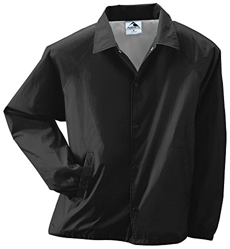 Augusta Sportswear Unisex-Adult Nylon Coach's Jacket/Lined, Black, Large (Front Snap Nylon Jacket)