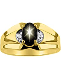 Diamond & Black Star Sapphire Ring 14K Yellow or 14K White Gold
