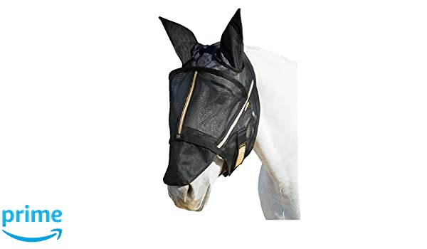 noble outfitters fly mask with ears fleece canopy loop s black 75002