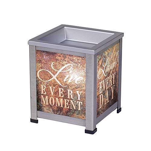 Elanze Designs Love Live Laugh Grey Brushed Metal Electrical Wax Tart and Oil Glass Warmer
