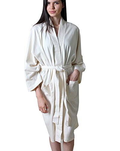 - Women's 100% Organic Cotton Spa Bath Robe Kimono, Super Soft Lightweight Non-Toxic Eco-Friendly Hypoallergenic (Natural, L/XL)