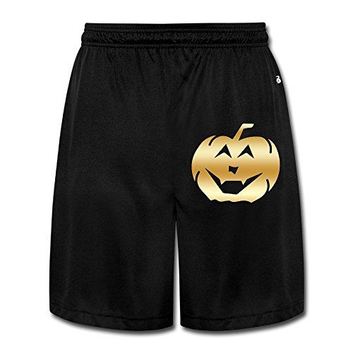 Men's Halloween Gold Logo Workout Pants Shorts Black ()