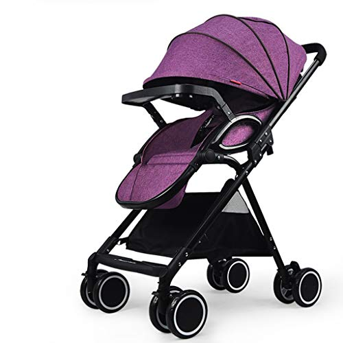 (TIAN Stroller High Landscape Baby Stroller Trolley Ultralight Sit Down Pushchairs Prams Shock Absorbers Folding One Button Collect Strollers Buggies Comfortable and Durable)