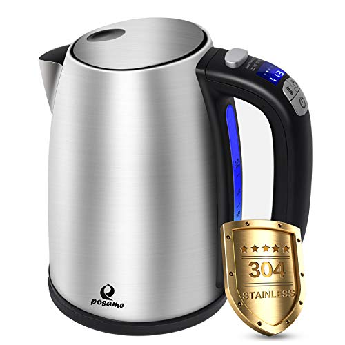 Posame Electric Kettle Cordless Digital Variable Temperature LED Tea Kettle, 1.7 Liter Stainless Steel Hot Water Heater, Fast Boiling, Keep Warm, Auto Shut-off, Boil-Dry Protection, BPA-Free