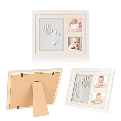 Baby Handprint and Footprint Photo Frame, Toddler Photo Album for Newborn Boys and Girls,Shower Gift Set with Nontoxic Clay Impression Nursery Decor Keepsake Frame(1 - Angel Mug Large