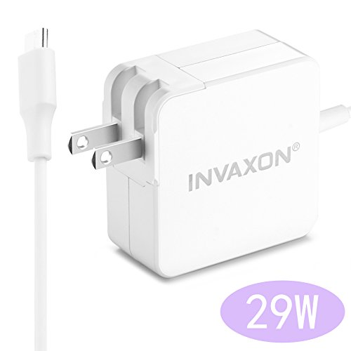 USB C PD Charger INVAXON 29W USB-C Type-C Power Adapter Charger Built-in 6ft USB-C to USB-C Cable Compatible with MacBook...