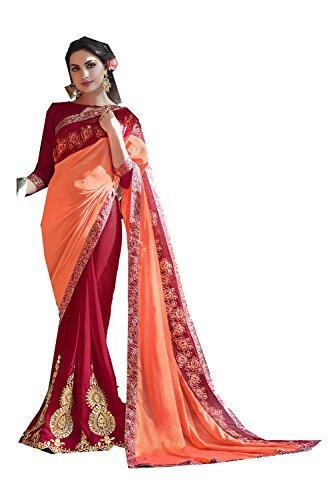 55 amp Wedding Party Traditional For Women Orange Saree Da Wear Designer Maroon Indian Facioun Sarees Fqax67B