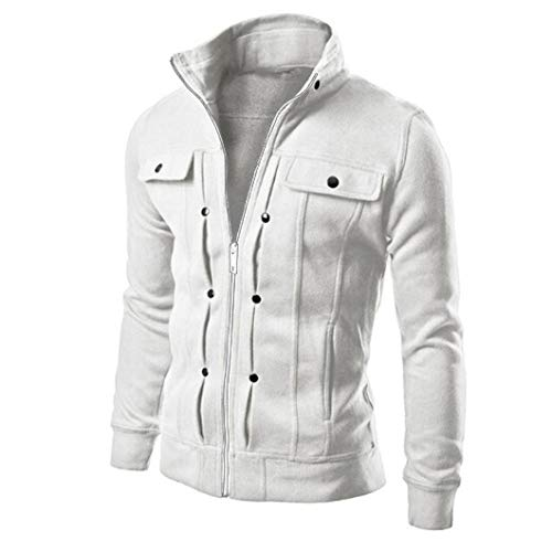 Beautyfine 2019 Jacket Coat Mens Slim Designed Lapel Long Sleeve Cardigan Top White -