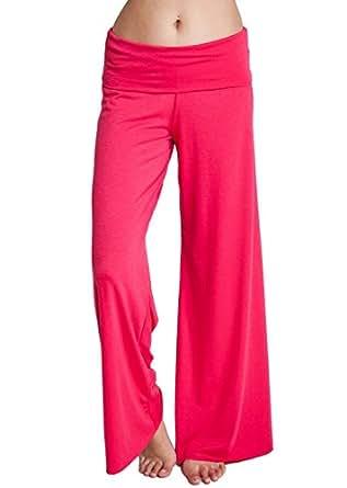 Woman Red Fold Over Waist Band Wide Leg Yoga Pants