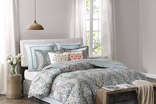 Echo Design Sterling Queen Size Bed Comforter Set - Teal Green, Damask – 4 Pieces Bedding Sets – Cotton Bedroom Comforters