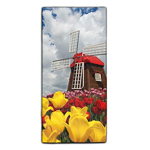 Miaoquhe Windmill and Tulips Towel for Kids Adult Great for Swim Spa Travel