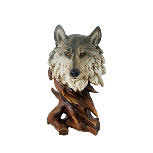 Animal Wildlife Collection Faux Wood Wolf Head Bust