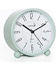 """4"""" Super Silent Alarm Clock,FLOITTUY Beep Wake Round Alarm Clock with Night Light,Battery Operated,Easy Set,Simple & Retro for Desk, Bedroom and Home Decoration(Green)"""