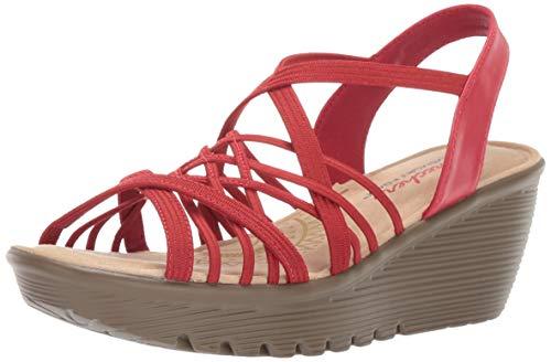 Skechers Women's Parallel-Crossed Wires-Multi Gore Slingback Sandal Wedge, red, 6.5 M US