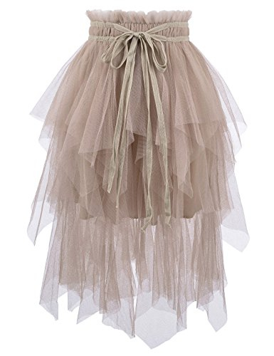 NEARKIN (NKNKWLSK746 Womens Mystical Layered Lace Banding Fairylike Midi Skirt Beige US M(Tag Size L)]()