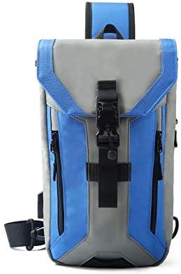 FANDARE Anti-Theft Brusttasche Sling Bag mit USB Schultertasche Herren Grosse Kapazität Crossover Bag Umhängetasche für Schule Outdoorsport Wandern Radfahren Bergsteigen Reisen Polyester Blau