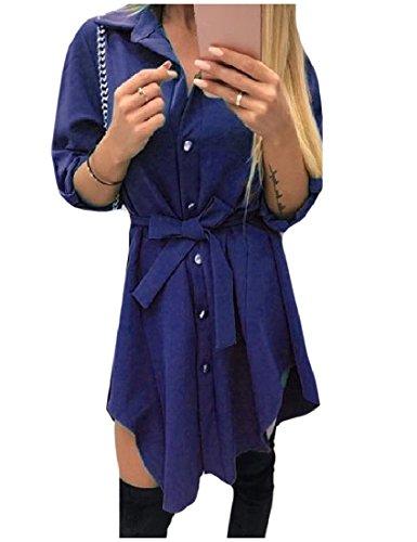 Coolred-femmes Taille Plus Haut Bas Bouton Mini Robe Ourlet Bas Chemise Bleu