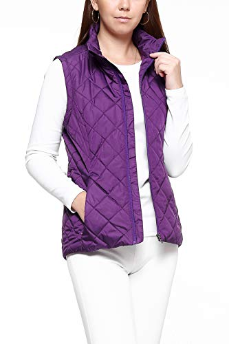 Puffer Purple - More Golooper Women's Vest-Lightweight Quilted High Collar Zip Vest Padded Gilet(Purple, S)