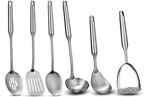 6 Piece Stainless Steel Serving Cooking Kitchen Utensil Set - Will Last Your Kitchen a Lifetime, Guaranteed - Meticulous Craftsmanship, Sleek Modern Design, Exceptional Quality.