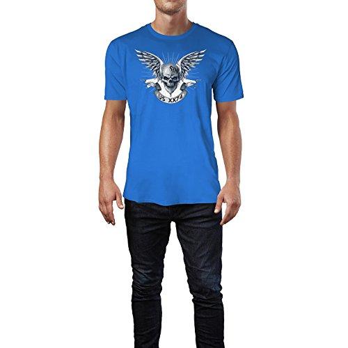 SINUS ART ® Totenkopf mit Flügeln und Banner Herren T-Shirts in Blau Fun Shirt mit tollen Aufdruck