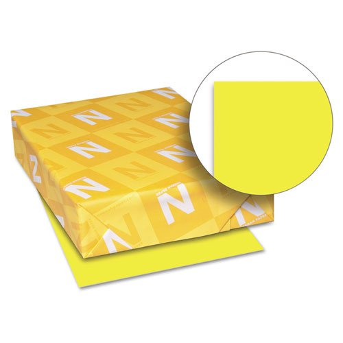 "Astrobrights Color Paper, 8.5"" x 11"", 24 lb/89 gsm, Lift-Off Lemon, 500 Sheets (22631) by Wausau"