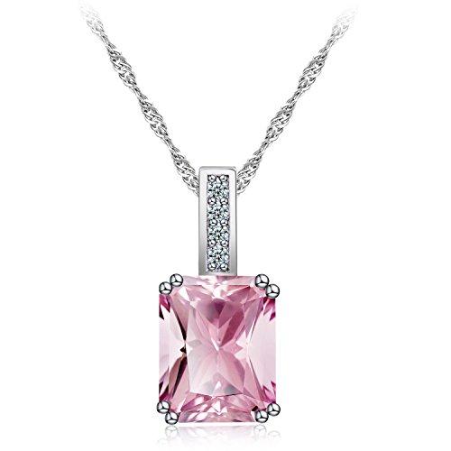 (efigo Fashion Silver Neckalce for Women with Swarovski Crystal Birthstone Neckalce Girls Diamond Jewelry (Pink))