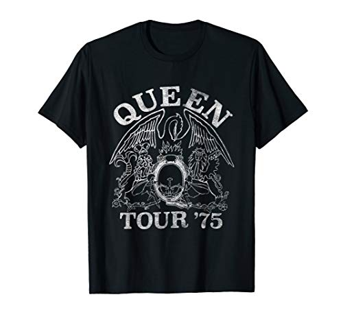 Queen Official Tour 75 Crest Logo T-Shirt