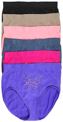 dbfcdc0482dbd ToBeInStyle Womens Pack of 6 Plus Size Seamless Flower High Waist Briefs