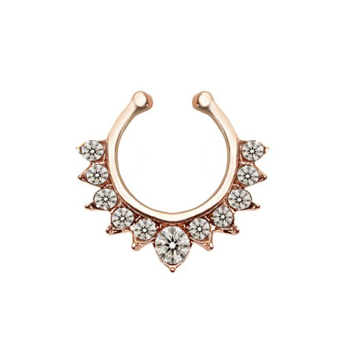 KAVANI Alloy Fake Septum Nose Ring Nails Hoops Rose Gold for Girls Women